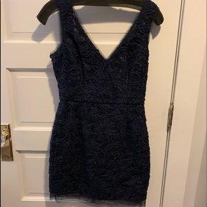 Blue floral patterned/ textured dress